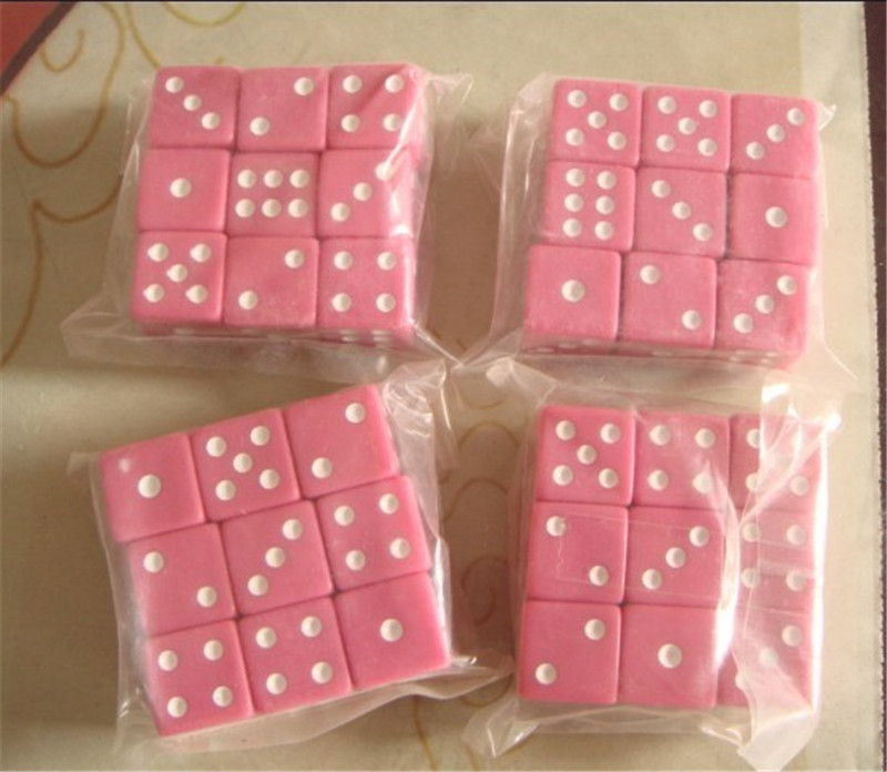 9pcs/lots 16mm D6 Acrylic Pink Dice Color With Square Angle For Board Games