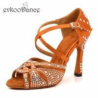 Evkoodance Professional Brown With Rhinestone Dance Shoes Heel Height 10cm Zapatos De Baile Size US 4 12 For Women Evkoo 558