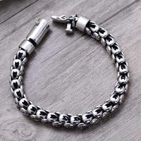 wholesale 925 pure silver ornaments retro Thai silver domineering men's silver bracelet pin simple design