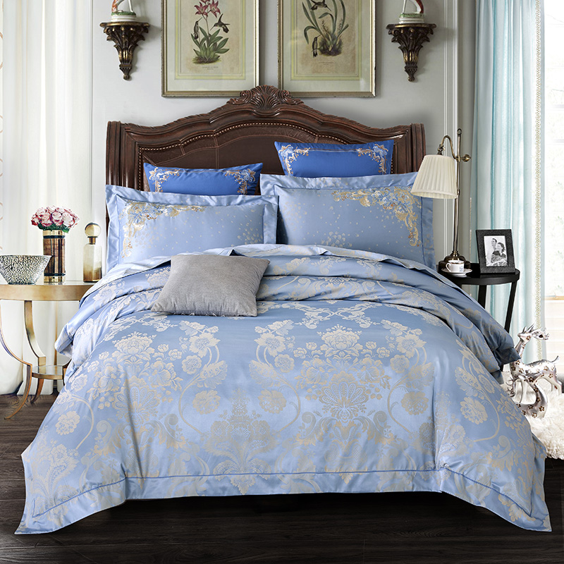 New 4Pieces blue Luxury Bedding Set Queen King Size Bed Set Jacquard Duvet Cover Bed Sheet Bed Linen