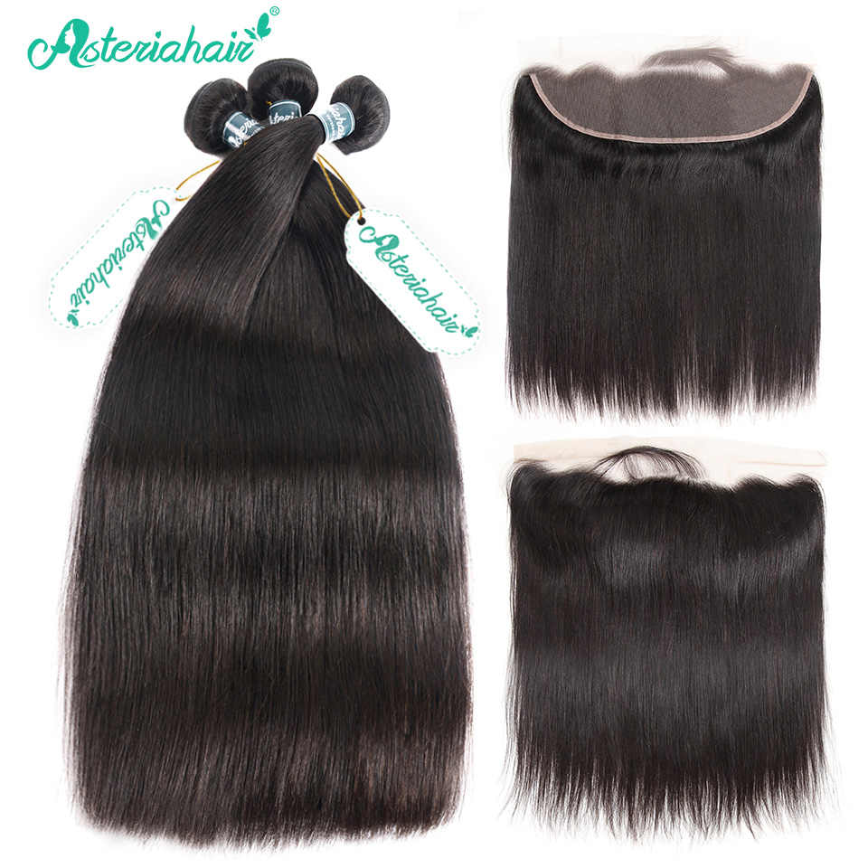 Brazilian Straight Hair Bundles With Frontal Closure Pre Plucked Human Hair 3 Bundles With Lace Frontal 13x4 Asteria Remy Hair