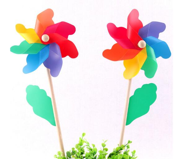 Outdoor Play Aescin color windmill colorful wooden toy wedding party layout Holiday dress up 100pcs/lot