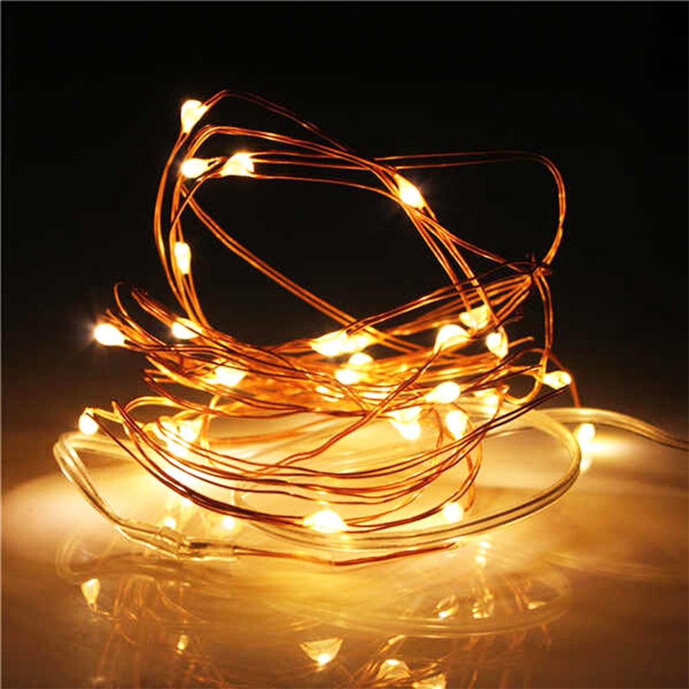 5M 50 LED à piles LED guirlandes de fils de cuivre pour la - Éclairage festif - Photo 4
