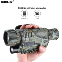 BOBLOV 5x40 Night Vision Monocular 200m Range with Photo and Video storage Function Free 8GB DVR for Hunting Security Hiking