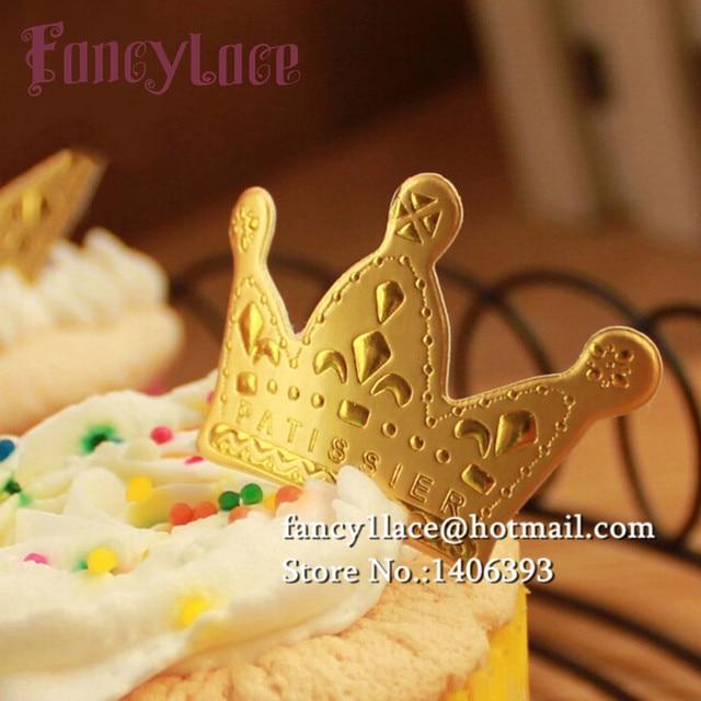 Free Shipping 50pcs Lot 254cm Gold Glitter Birthday Crown Cake Topper Kit 1st