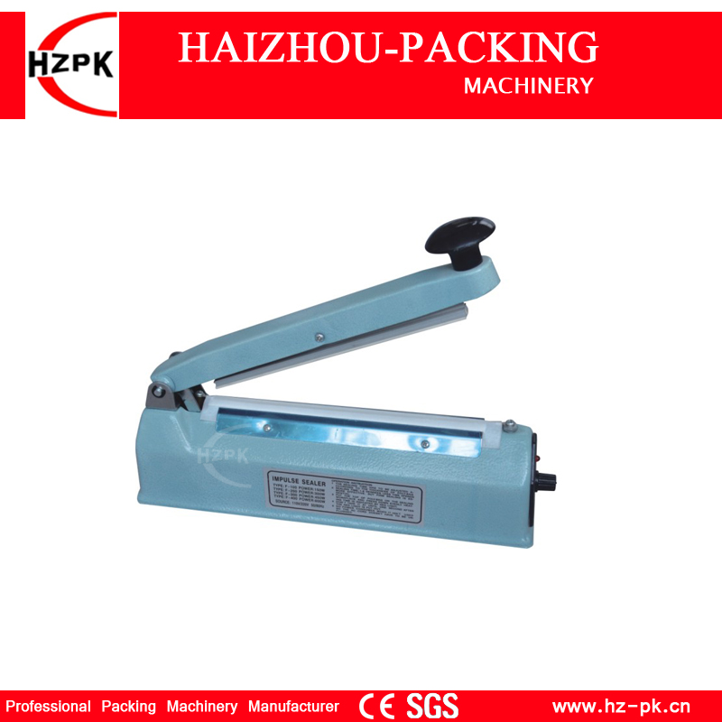 HZPK Iron Body Heat Impulse Sealer Plastic Aluminum Bag Sealing Machine Manual Sealer Small Home Kitchen Machine Packer SF-300 стоимость