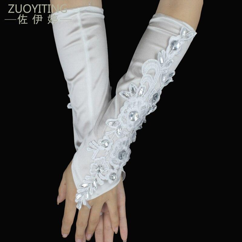 ZUOYITING Hvid Blonde Prinsesse Brudehandsker Mode Kvinde Lang Design Beaded Opera Brudekjoler Handsker Bryllup Tilbehør