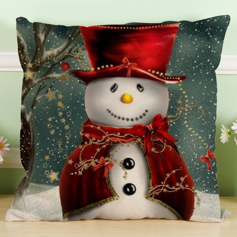 Maiyubo Romantic New Years Gifts Christmas Santa Claus Pillow Cover Home Decorative Throw Pillow Case Room Snowman Cushion PC313