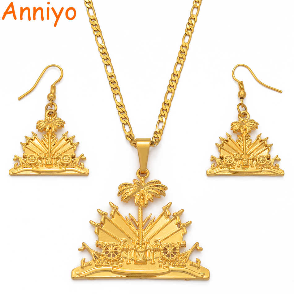 Anniyo Haiti Flag Pendant Necklaces Earrings Set for Women Ayiti Items Gold Color Jewelry sets Gifts of Haiti #115206