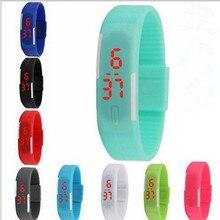 Мода для мальчиков и девочек Дети Студенты Спорт цифровой светодиодный часы Новые Мужские Женские сенсорный экран силиконовой резины подарок часы