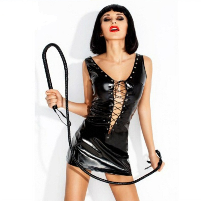 Sexy Deep V Neck Women Tight Mini Dress Erotic Hollow Out Cross-tied Bodycon Dress Fetish Lingerie Sexy Costumes Black Red