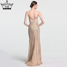 Robe De Soiree Evening Party Dress Real Photos Nude Color Tulle Crystal Royal Blue Party Occasion Formal Long Evening Dress
