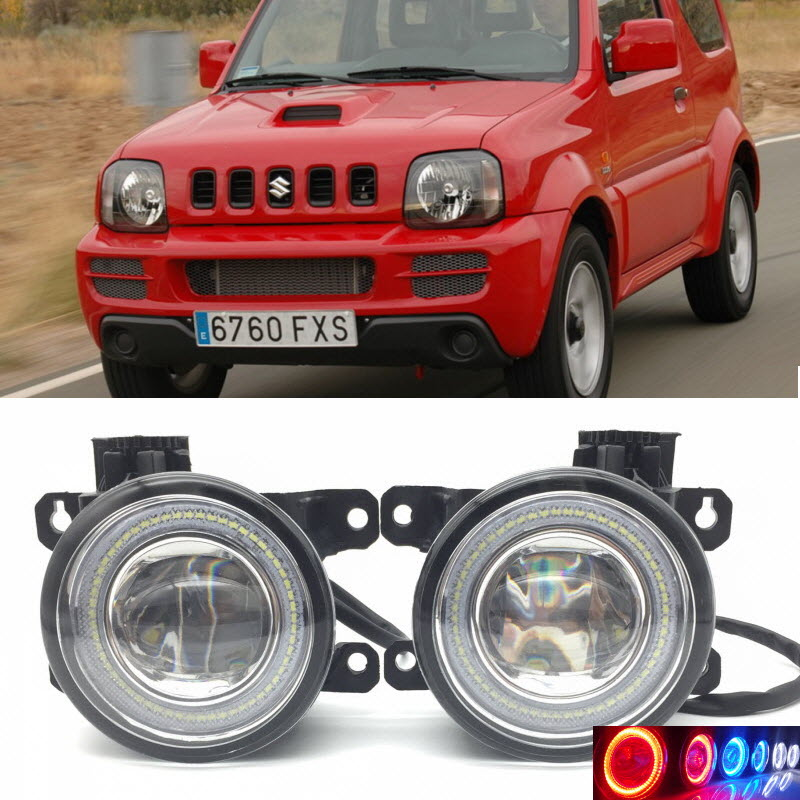 2 in 1 LED Angel Eyes DRL 3 Colors Daytime Running Lights Cut-Line Lens Fog Lamp for Suzuki Jimny 1998-2017 car styling 2 in 1 led angel eyes drl daytime running lights cut line lens fog lamp for land rover freelander lr2 2007 2014