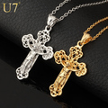 U7 Cross Pendant Necklace Vintage Pattern Gold Plated Fashion Women/Men Jewelry Wholesale P301