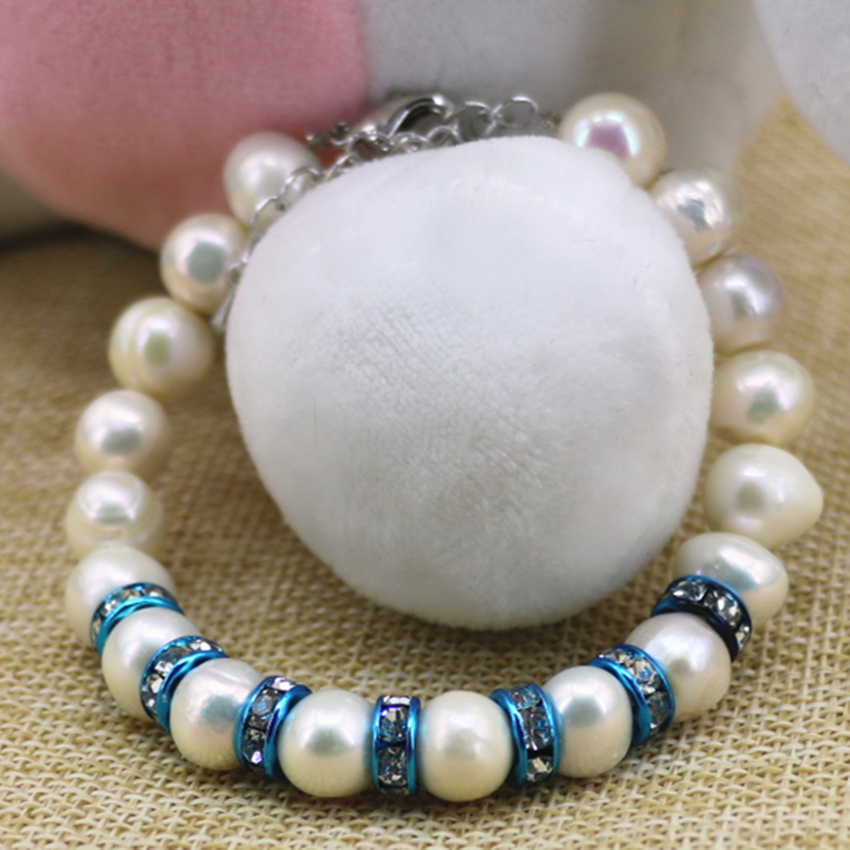 Fashion natural white cultured freshwater pearl beads 9-10mm bracelets & bangle for women sky blue crystal jewelry 7.5inch B3089