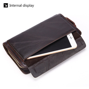 Image 3 - Business Genuine Leather Clutch Wallet Men Long Leather Phone Bag Purse Male  Large Size Handy Coin Wallet Card Holder Money Bag