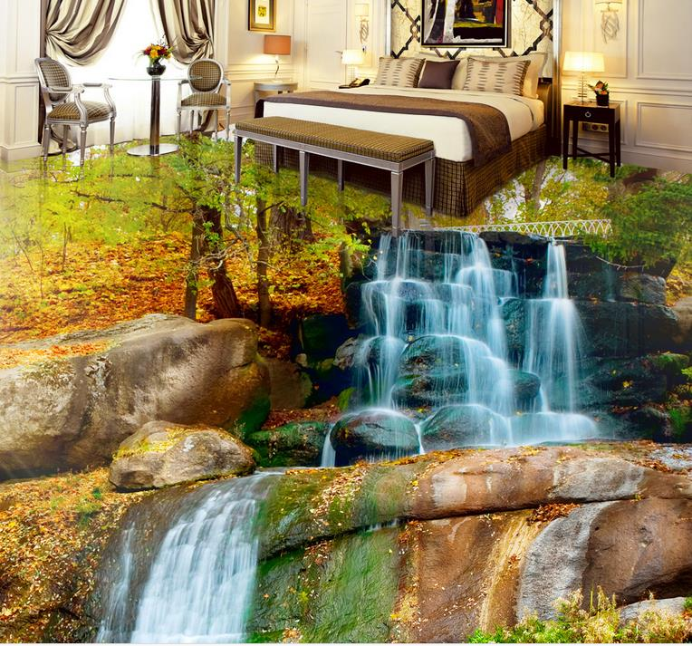 3d pvc flooring waterproof wallpaper custom 3d flooring Waterfalls Lotus Carp self adhesive mural wallpaper 3d floor tiles free shipping 3d carp lotus pond lotus flooring painting tea house study self adhesive floor wallpaper mural