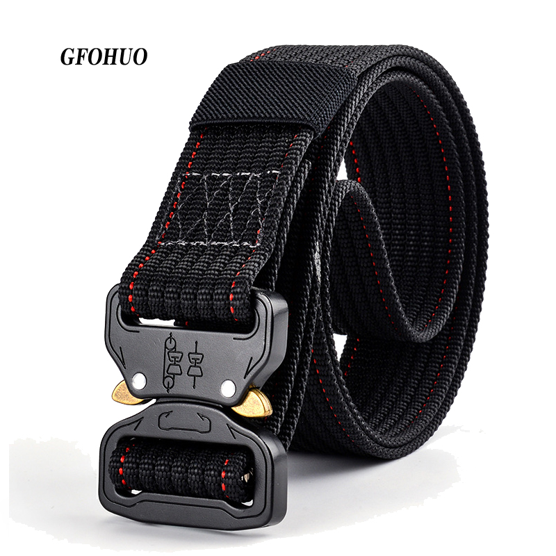 3.7cm Width New Luxury Design Men Army Tactical Nylon Belts Breathe Freely Outdoor sport Canvas Belt Combat Strap Waistband