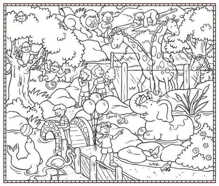 Catatanku Anak Desa Mewarnai Gambar Kebun Binatang Kartun