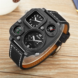 Image 3 - Oulm Sports Mens Watches Unique Compass for Decoration Big Size PU Leather Military Wrist Watch Male Clock Hours Man