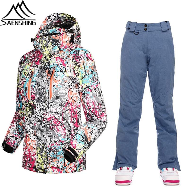 Ski Veste D hiver Saenshing De Pantalon Femmes Combinaison q566dw 9a7594e35be