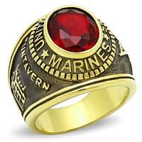 Nuovi Arrivi Militare Marines Anello Uomini di Alta Polacco Dell'acciaio Inossidabile IP Oro Colore Siam Pietra Principale Materiale Ambientale