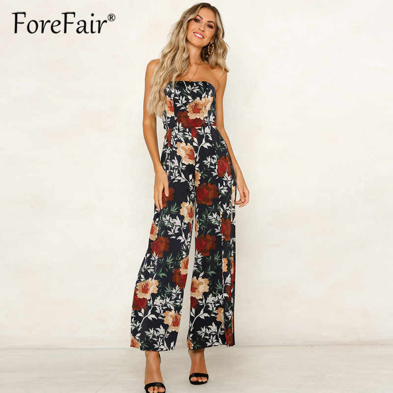 ad73aeaa072 ... Forefair Floral print boho full length jumpsuit women summer 2019  sleeveless strapless high split sexy rompers ...