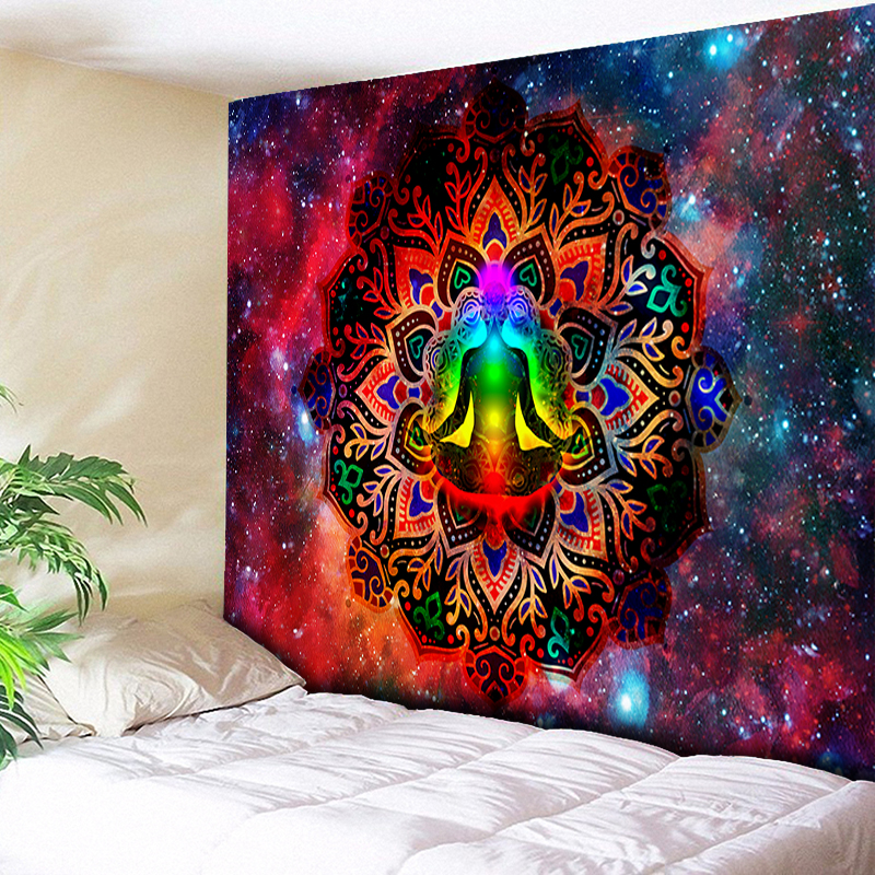 Starry Night Galaxy Decor Psychedelic Tapestry Wall Hanging Indian Mandala Tapestry Hippie Chakra Tapestries Boho Wall Cloth