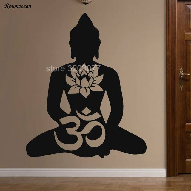 BUDDHA Vinyl Decal Sticker Window Wall Bumper Lotus Om Symbol God Buddhism Yoga