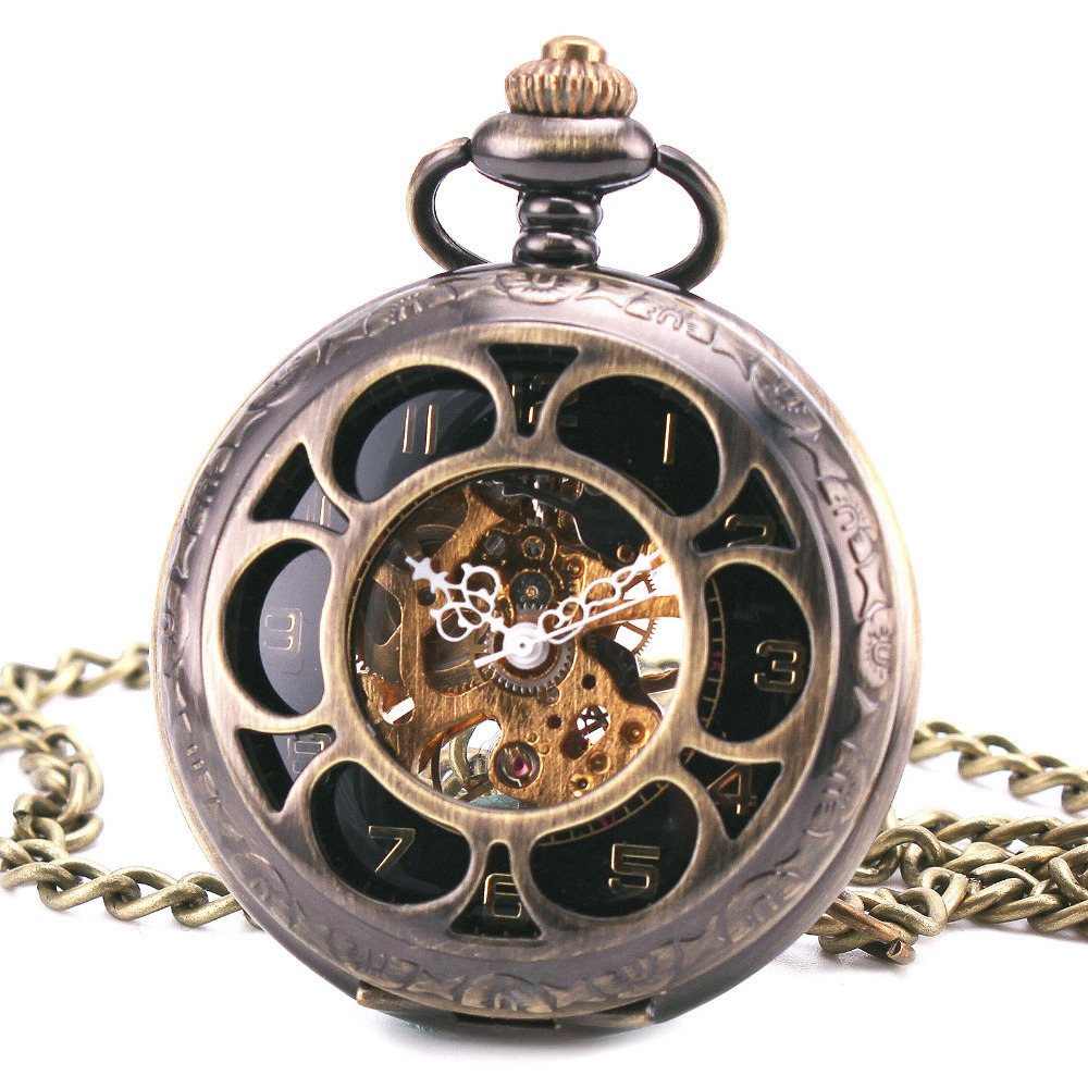 Td Retro Ancient Hand Wind Pocket Watches Flower Skeleton