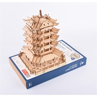 3D Puzzles wooden toys Model Assembled Brain Teaser Learning Educational for kid chitecture Assembly Kit The Yellow Crane Tower