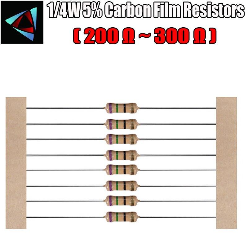 100pcs 1/4W 5% Resistor de Filme de Carbono 200 220 240 270 300 ohm
