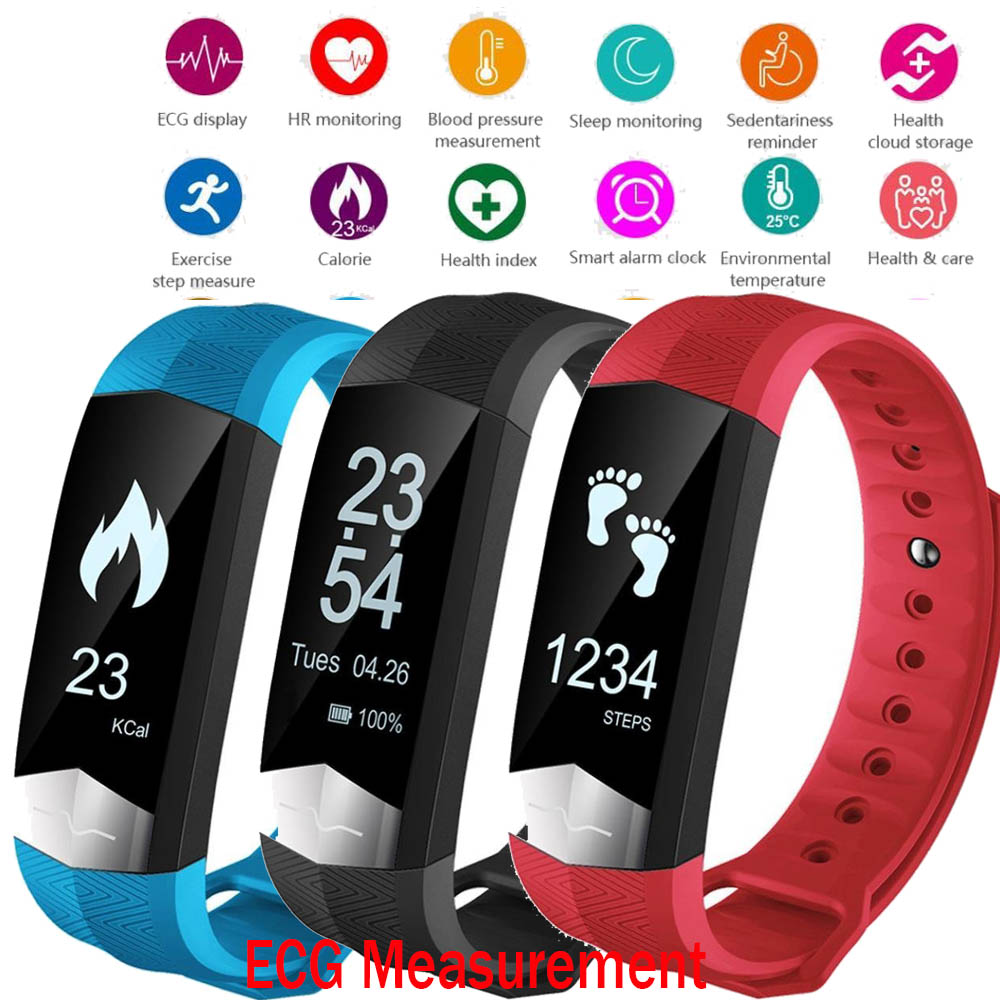 SF01 Bluetooth Smart Band ECG Display Heart Rate Blood Pressure Monitor Smart Wristband Fitness Bracelet for IOS Android phones