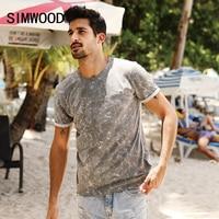 SIMWOOD 2017 Summer New T Shirt Men Marble Vein Print Pocket Slim Fit 100 Pure Cotton