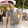 SIMWOOD 2017 Summer New T Shirt Men Marble Vein Print Pocket Slim Fit 100 Pure Cotton