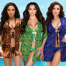 Womens Sexy 3Pcs Bikini Set Triangle Bra Low Waist Thong Swimsuit Vintage Leopard Peacock Feather Printed Cardigan Bathing Suit