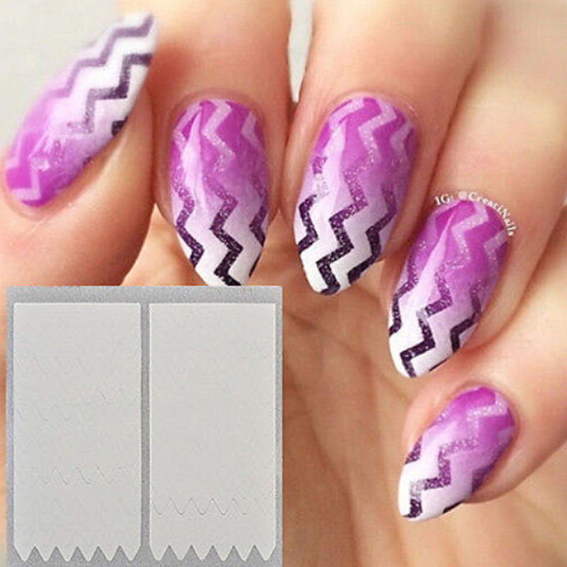 10 Sheet Wave Edge Nails Sticker Tips Guide French Manicure Nail Art ...