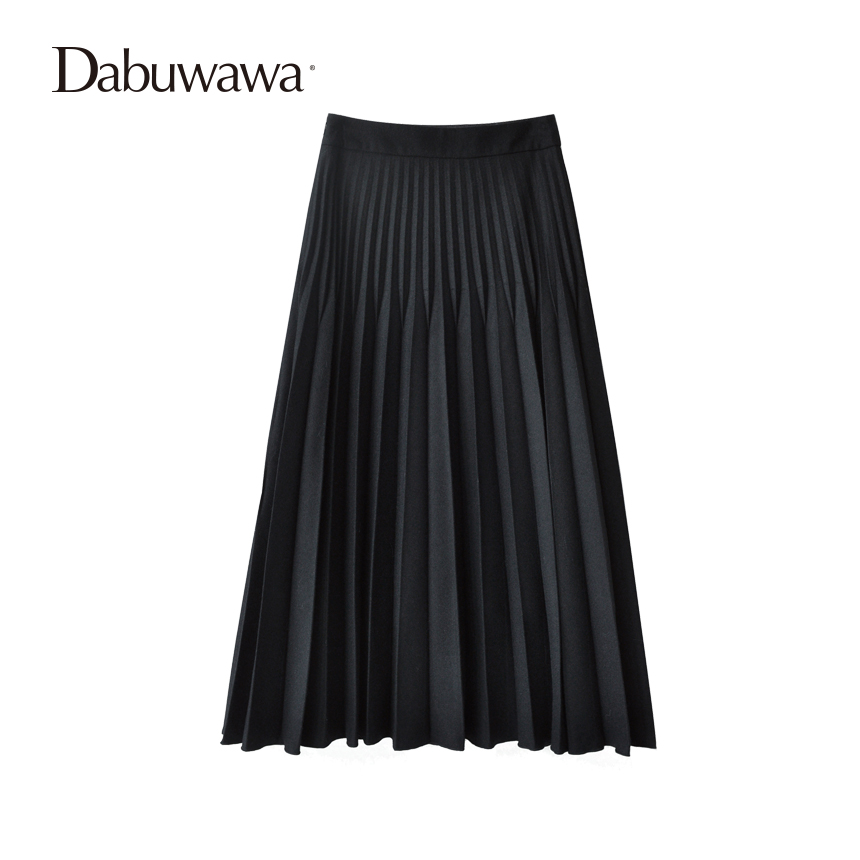 Dabuwawa Two Colors Winter Basic Pleated Skirt Women Long Skirt Solid Office Elegant Black Woolen Skirt dabuwawa autumn women fashion sexy plaid skirt elegant mini pleated skirt short streetwear asymmetrical skirt d17csk031 page 2
