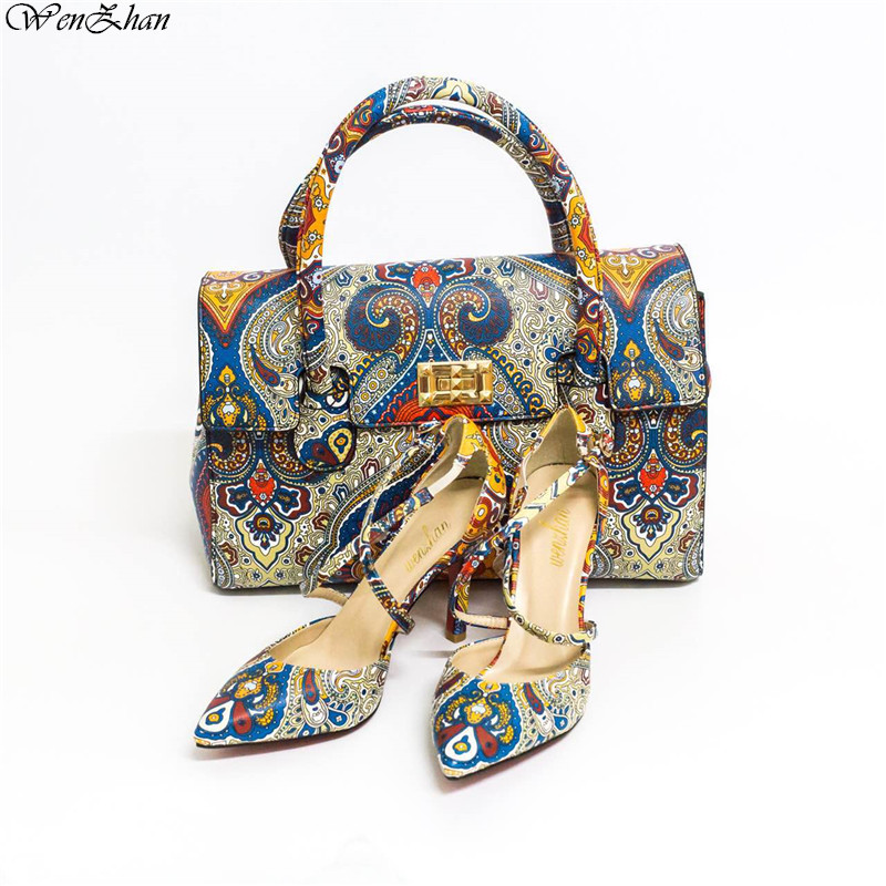 High quality italian shoes with matching bags Print Leather In 3Style High Heel Shoes With Bag Hottest Custom Heel Accept!A87-19 aidocrystal luxury handmade crystal sunflower high heel women italian shoes with matching bags