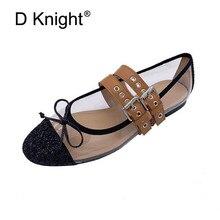 Bow Rievt Women Flats Belt Buckle Strap Lady Ballet Flats Shoes Glitter Sequins Black Silver Casual Transparent Flat Shoes Woman