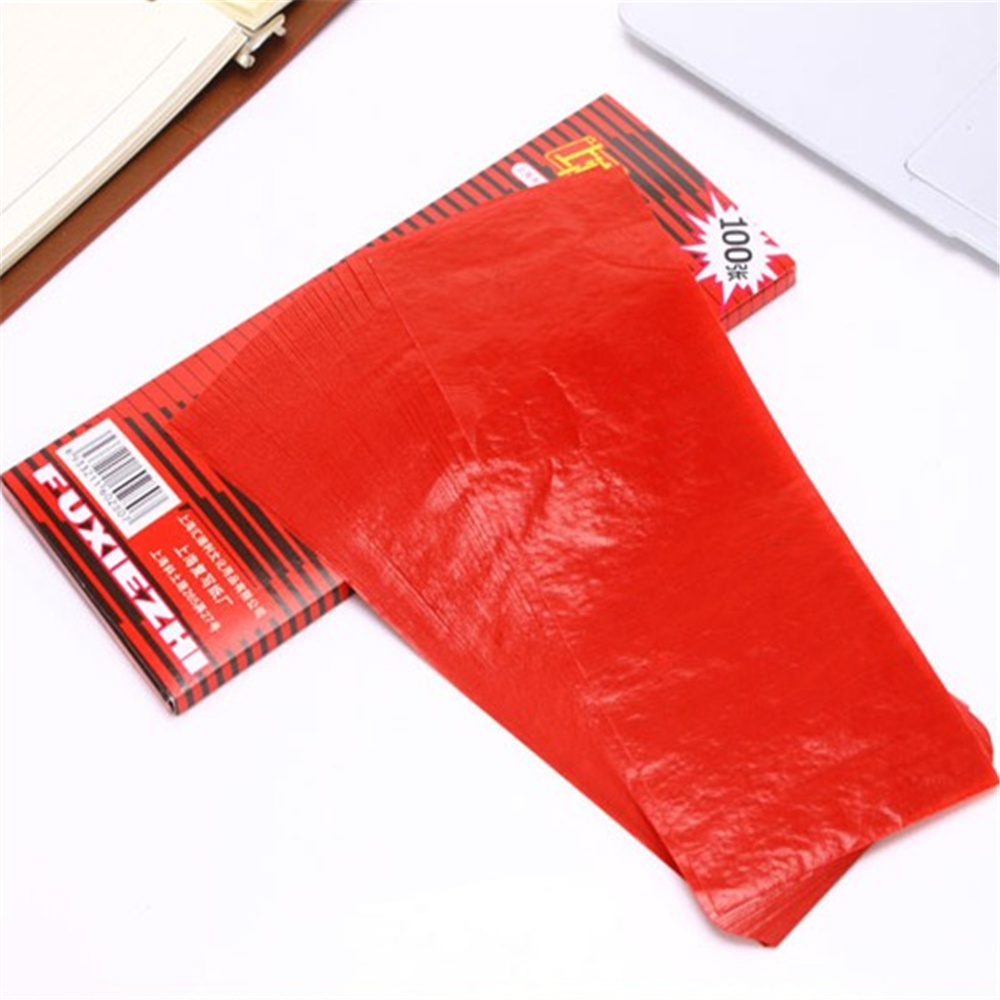 NNRTS 100 Sheets 38K Red Carbon Stencil Transfer Paper Double Sided Hand Pro Copier Tracing Hectograph Repro 22x8.5cm