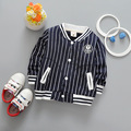 New spring autumn casual sports Baby Boys Cotton Children's Vertical striped baseball Cardigan Outwear Hoodie Coats Y2072