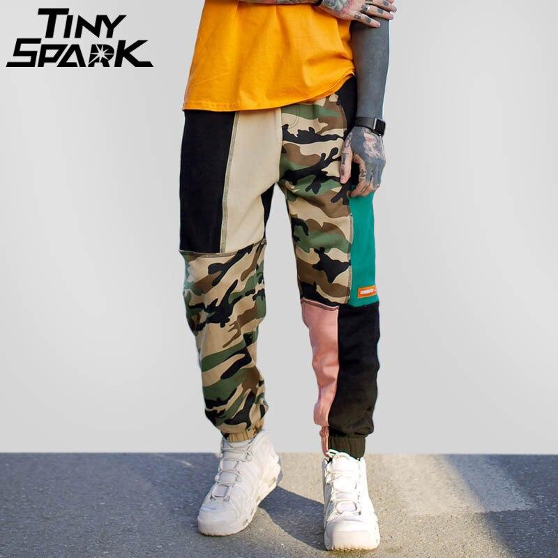 Цвет блока лоскутное камуфляжные штаны хип уличная Harajuku беговые штаны хлопковые зимние Пот Пант спортивные брюки 2018