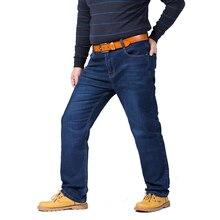 2017 лидер продаж, Большие размеры 44 46 48 классический Джинсы упругой мужской синий работы джинсовые штаны Для мужчин полной длины высокое качество отдыха Мотобрюки