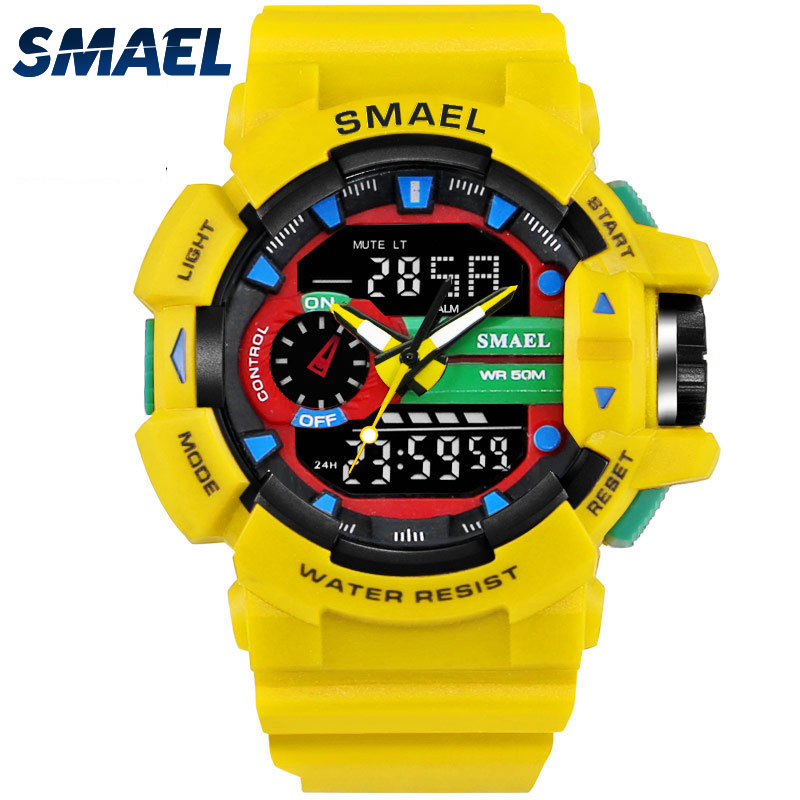 SMAEL Yellow Sport Watches Dual Time LED Digital Watch Quart
