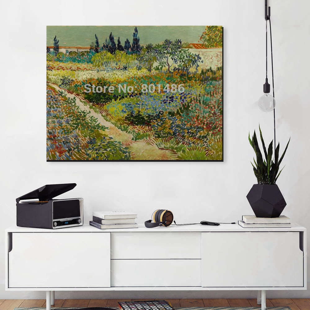 Flower Garden by Vicent Van Gogh Vintage Wall Art Canvas Printed Flowers Home Decoration Landscape Picture for Office Decor