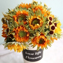 5 heads Yellow bouquet Silk Sunflower artificial flowers decorative sunflower table arrangement home decoration accessories
