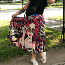 2019 New Coming Spring Summer Printing Pattern Empire High Elastic Skirts Cartoon Pleated Skirt Party Holiday Street