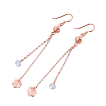 OL Style 925 Sterling Silver Rose Gold Earrings Girls Popular Jewelry Flowers Zircon Pendant Long birthday present