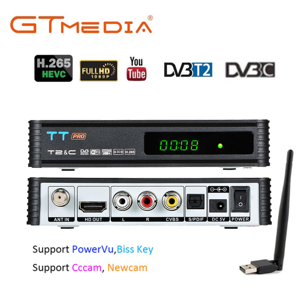 GTMEDIA TT PRO Russia DVB T2/T Terrestrial TV Receiver Receptor Tuner Combo wifi DVB T2 H.265  DVB C TV BOX Decoder Youtube Biss-in Satellite TV Receiver from Consumer Electronics